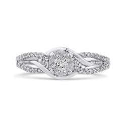 3/8 ct White Round Diamond Fashion Ring In 10K White Gold