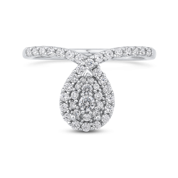 10K White Gold 1/2 ct White Round Diamond Fashion Ring
