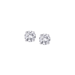 14K White Gold 1/10 Ct Diamond Round Studs