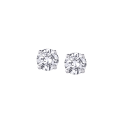 14K White Gold 1/4 Ct Diamond Round Studs