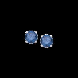 14K White Gold 1/4 Ct Blue Diamond Round Studs