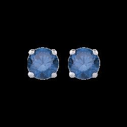 14K White Gold 1/3 Ct Blue Diamond Round Studs