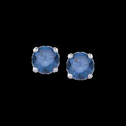 14K White Gold 1/2 Ct Blue Diamond Round Studs