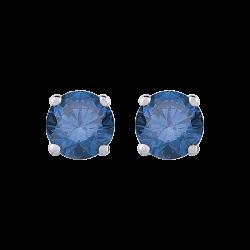 14K White Gold 3/4 Ct Blue Diamond Round Studs