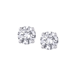 14K White Gold 1/2 Ct Diamond Round Studs