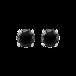 14K White Gold 1/2 Ct Black Diamond Round Studs