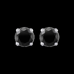 14K White Gold 3/4 Ct Black Diamond Round Studs