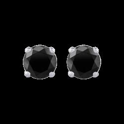 14K White Gold 1 Ct Black Diamond Round Studs