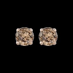 14K White Gold 1/4 Ct Brown Diamond Round Studs