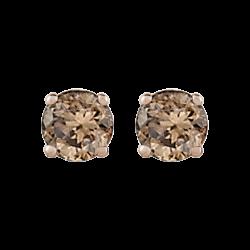 14K White Gold 3/4 Ct Brown Diamond Round Studs