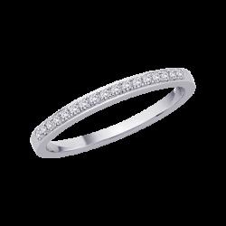 10K White Gold, Diamond Bridal Wedding Band (0.15 cttw)