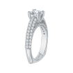 Round Diamond Euro Shank Cathedral Style Engagement Ring In 18K White Gold