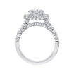 18K White Gold 1 Ct Diamond Carizza Semi Mount Engagement Ring to fit Round Center