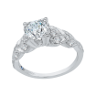 18K White Gold 3/8 Ct Diamond Carizza Semi Mount Engagement Ring to fit Round Center