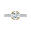 18K Two-Tone Gold Euro Shank Round Diamond Engagement Ring