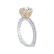 18K Two-Tone Gold 5/8 Ct Diamond Carizza Semi Mount Engagement Ring to fit Round Center