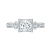 Round Diamond Vintage Engagement Ring In 18K White Gold (Semi-Mount)