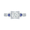18K White Gold .14 Ct Diamond and 3/8 Ct Saphhire Carizza Semi Mount Engagement Ring to fit Round Center