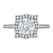 18K White Gold with Black Rhodhium Tips 1/4 Ct Diamond Carizza Semi Mount Engagement Ring to fit Round Center