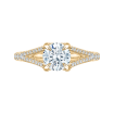 18K Yellow Gold Round Diamond Engagement Ring with Split Shank (Semi-Mount)
