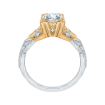 18K Two-Tone Gold 1/3 Ct Diamond Carizza Semi Mount Engagement Ring to fit Round Center