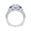 18K White Gold 3/8 Ct Diamond and 7/8 Ct Saphhire Carizza Semi Mount Engagement Ring to fit Round Center