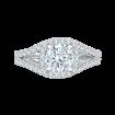 18K White Gold Round Diamond Halo Engagement Ring with Split Shank (Semi-Mount)