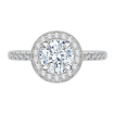 18K White Gold Round Diamond Halo Engagement Ring with Euro Shank (Semi-Mount)