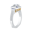 18K Two-Tone Gold Round Diamond and Saphhire Engagement Ring