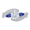 18K White Gold 1/5 Ct Diamond and 1/2 Ct Saphhire Carizza Semi Mount Engagement Ring to fit Round Center