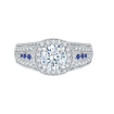 18K White Gold 5/8 Ct Diamond and .04 Ct Saphhire Carizza Semi Mount Engagement Ring to fit Round Center