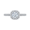 18K Two-Tone Gold Round Diamond Halo Engagement Ring (Semi-Mount)