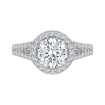 18K White Gold Round Halo Diamond Engagement Ring with Split Shank (Semi-Mount)