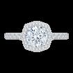 18K White Gold Round Cut Diamond Octagon Shape Halo Engagement Ring (Semi-Mount)