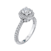18K White Gold Round Cut Diamond Octagon Shape Halo Engagement Ring