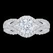 18K White Gold Round Diamond Engagement Ring with Split Shank (Semi-Mount)
