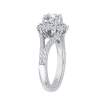 18K White Gold 3/4 Ct Diamond Carizza Semi Mount Engagement Ring fit Round Center