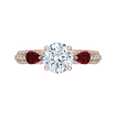 18K Rose Gold Round Diamond and Ruby Engagement Ring (Semi-Mount)