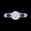 18K White Gold Round Diamond and Sapphire Engagement Ring (Semi-Mount)