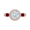 18K Pink Gold 1/2 Ct Diamond and 5/8 Ct Ruby Carizza Semi Mount Engagement Ring To Fit Round Center