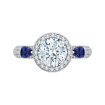 18K White Gold Round Diamond Halo Engagement Ring with Sapphire