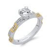 18K Two Tone Gold Round Diamond Engagement Ring