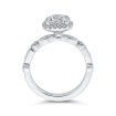 18K White Gold Round Cut Diamond Halo Engagement Ring