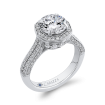 18K White Gold 1 1/5 Ct Diamond Carizza Semi Mount Engagement Ring to fit Round Center