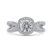 Platinum Round Cut Diamond Halo Engagement Ring (Semi-Mount)