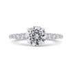 14K White Gold Round Diamond Engagement Ring with Milgrain (Semi-Mount)
