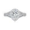 Pear Diamond Halo Engagement Ring In 14K White Gold with Split Shank (Semi-Mount)
