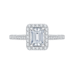 Emerald Cut Diamond Halo Engagement Ring In 14K White Gold (Semi-Mount)