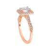 18K Pink Gold 3/8 Ct Diamond Carizza Semi Mount Engagement Ring to fit Emerald Center