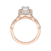 18K Rose Gold Emerald Cut Diamond Halo Vintage Engagement Ring